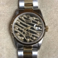 W#39 Rolex two tone Datejust Custom zebra dial Watch