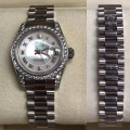 W#01 Rolex Ladies white Gold President  Crown collection  Factory diamonds Whit mop myriad Roman dial $16,550.00