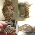 W#26 Double quickset Men's presidential Rolex watch custom diamond band /bezel/lugs/dial $13,950.00