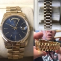 W#44 men's 18k yellow gold President double quick -blue dial excellent condition $12,450.00