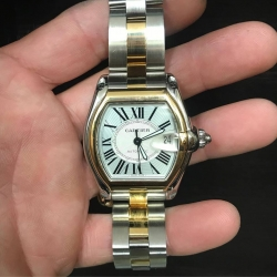 W#39 Men's two tone Cartier roadster (large) box and papers $5995.00