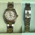 W#30 ladies two tone Datejust Rolex watch factory diamond jubilee dial quickset sapphire just traded $2995.00